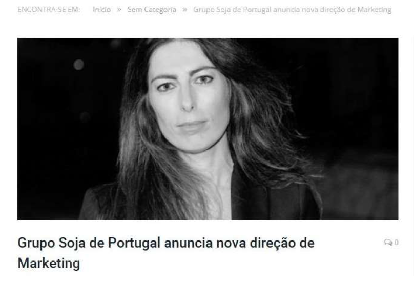 Grupo Soja de Portugal tem nova Diretora de Marketing