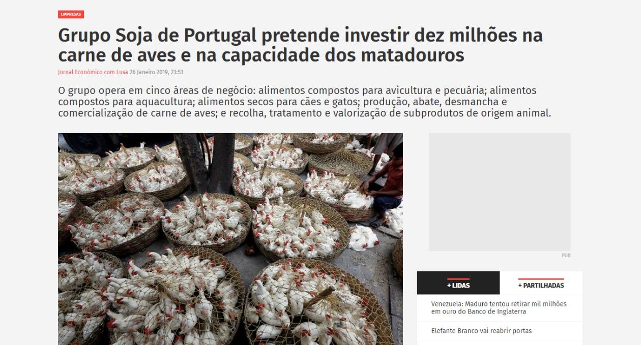 Grupo SOJA DE PORTUGAL pretende investir dez milhões na carne de aves e na capacidade de matadouros